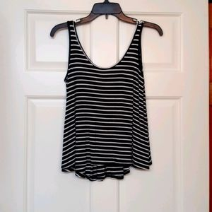SEE YOU MONDAY BLACK AND WHITE STRIPED TOP